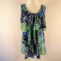 Dress Barn Womens Top Petite Large Sleeveless Multicolor Ruffled Tiered Blue