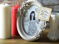 KATIE ALICE COLLECTION Small GREY OVAL Shabby Chic FREE STANDING PHOTO FRAME