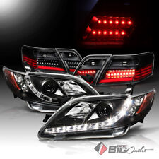 For 07-09 Camry Black DRL LED Strip Projector Headlights + LED Tail Lights Combo