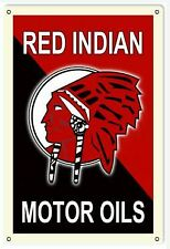 Vintage Antique Style Metal Sign Red Indian Oil 18x30