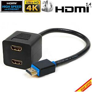 Cable Duplicador HDMI Splitter Ladron Dos Salidas 1 Macho a 2 Hembras TV 350 mm