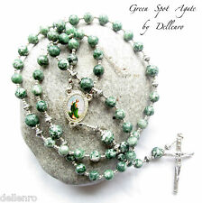 ✫GREEN SPOT AGATE✫ BEAUTIFUL HANDCRAFTED GEMSTONE 5 DECADE ROSARY (Boxed)