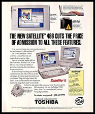 1993 Toshiba Satellite 486 Notebook PC Vintage PRINT AD Computer Intel 1990s