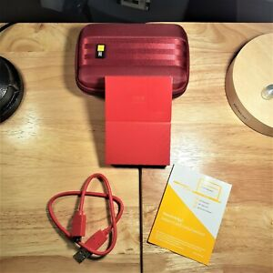 WD My Passport ~ 1 TB Portable External Hard Drive ~ AND Hard Case ~ Red