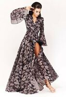 NWT Designer Long Sleeve Floral Evening Gown  *Size 8