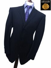 MARKS & SPENCER SARTORIAL 44 REG LUXURY WOOL HEAVY WIDE PIN BUSINESS SUIT W40L29