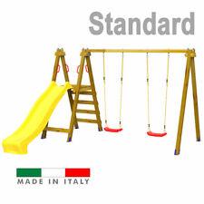 Scivolo in legno Altalena Gioco Giardino per bambini Composizione 5 Standard