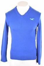 HOLLISTER Mens V-Neck Jumper Sweater Small Blue Cotton  MJ07