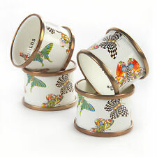 Mackenzie-Childs Set Of 4 White Butterfly Garden Enamel Napkin Rings