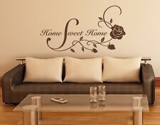 Home Sweet Home Floral Quote with Roses - highest quality wall decal stickers