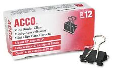 "ACCO 72010 ACCO Binder Clips, 1/4"" Cap., 1/2""w, BLK/Silver, Sold Per Box Of 1 Do"