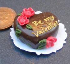 1:12 Scale Heart Shaped Chocolate Valentine Cake Dolls House Miniature Food NC33