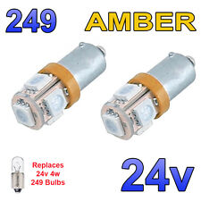 2 x Amber 24v LED Side Light 249 BA9s T4W 5 SMD Bayonet Bright Bulbs HGV Truck