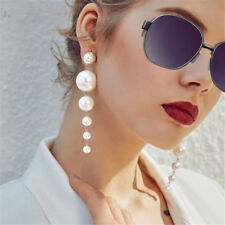 Women's Elegant Big Simulated Pearl Long Tassel Earrings Ear Studs Jewelry Gift