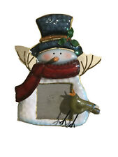 3D Frosty Metal Enamel Snowman Picture Frame