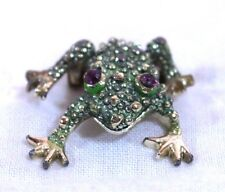 """Frog Pin Brooch Green Gold Tone Purple Stone Eyes Appx 1.5"""""""