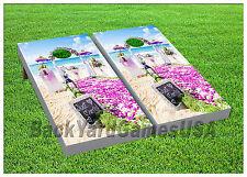 VINYL WRAPS Cornhole Boards DECALS Beach Wedding Day BagToss Game Stickers 574