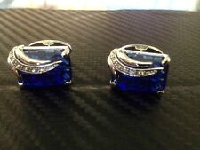 luxury silver cufflinks with royal blue stone