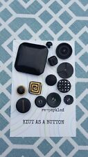 Kuit As A Button Card of 13 Assorted Vintage Black Buttons