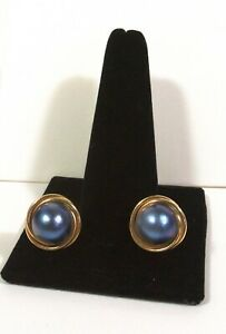 3.6G 14kt 585 Large BLUE PEARL SOLID 14K Yellow Gold EARRINGS NR .99