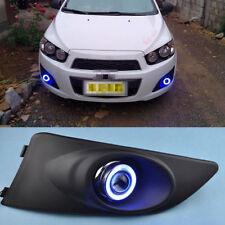 Fog Lights Lamp Kits +COB Angel Eye Bumper Cover Lens o For Chevrolet Aveo 10-12