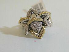 Barbara Bixby Sterling 18k White Topaz Lotus Flower Ring 7