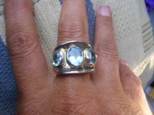 SILVER 925 MARKED AQUA MARINE TRIO BRIOLETTE ROMANIC WRAPP RING, COOL SIZE Q1/2