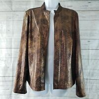 Chicos Womens Jacket Sz 1 Medium Brown Embellished Open Front