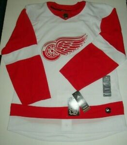 $180 Adidas Auth NHL Detroit Red Wings Away Road Hockey Jersey Fight Strap Sz 50