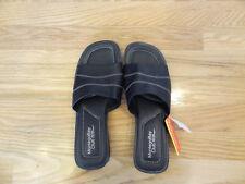 New Montego Bay Womens Slides Sandals Peeptoe Black Size 8 Leather Upper Slip On