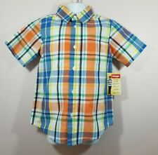 Wrangler XS 4/5 Boys Orange Short Sleeve Button Front Dress Shirt New