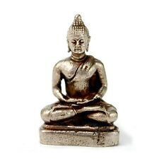 """TINY WHITE BRONZE BUDDHA STATUE 1"""" Small Miniature Taliman Buddhist Amulet NEW"""