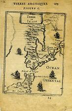 """1683 Genuine Antique map """"Terro de Iesso"""", Japan, orient, Japon . A M Mallet"""