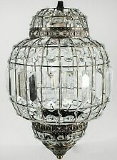 Classic Moroccan Lantern Style Antique Brass Clear Crystal Ceiling Light Shade
