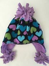 BABY GAP WINTER HAT GIRLS HEARTS 12-24 MONTHS XS/S XS SMALL EARFLAP BLUE GALAXY