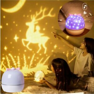 360 Rotation Starry sky Ocean LED Night Light Projector with 6 Films Lighting
