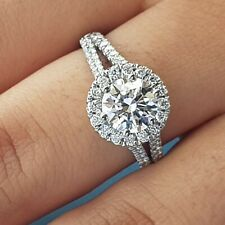 2.75CT HALO ROUND CUT 18K white gold engagement ring D FLAWLESS