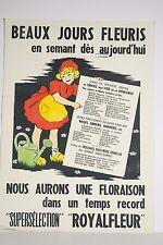 Affiche publicitaire Graines fleurs ROYALFLEUR Fillette arrosoir W Landelle XX