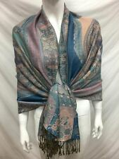 2PLY THICK PASHMINA CASHMERE PAISLEY BLUE WRAP SCARF STOLE ALL SEASON WEAR