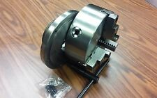 """8"""" 3-JAW SELF-CENTERING LATHE CHUCK top & bottom jaws, w. L0  adapter back plate"""