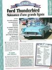 Ford Thunderbird 1955 USA Car Auto FICHE FRANCE