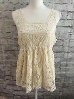Delia's Ivory Crochet Lace Babydoll Boho Festival Sleeveless Top Junior Size XL