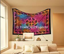 Tie Dye Elephant Mandala Tapestry Twin Indian Bedspread Throw Boho Wall Hanging