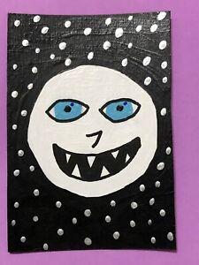 Original ACEO Art Card - Evil Moon - Acrylic Painting