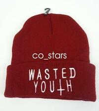5d4e50d1db2 Wasted Youth BEANIE HAT DISOBEY WASTED YOUTH BLACK HAT WOOLLY BEANIE BAD  HAIR DA