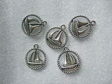20 Tibetan Silver Tone Round Nautical Sail Boat Charms Pendants Beads 16mm