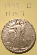 H147H1018 - Silver Walking Liberty Half Dollar 1945 D - Free Shipping