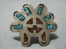 Striking Vintage Zuni Native American Turquoise Coral Sterling Silver Ring