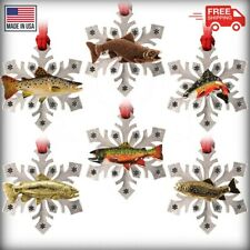 Pewter Brook Trout & Brown Trout Snowflake Christmas Holiday Tree Ornaments