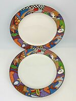 "Set of 2 Vitromaster 10 1/2"" Dinner Plates Metropolitan Pattern"
